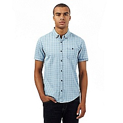 Red Herring - Pale blue chambray checked regular fit shirt