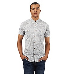 Red Herring - Grey leaf print shirt
