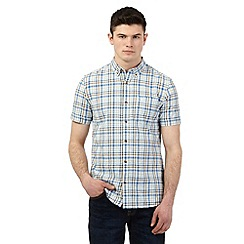 St George by Duffer - Brown gingham checked print short sleeved shirt
