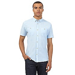 St George by Duffer - Big and tall blue grid short-sleeved regular fit shirt