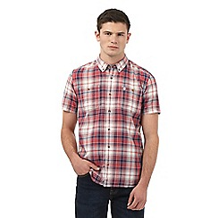 St George by Duffer - Big and tall red textured checked shirt