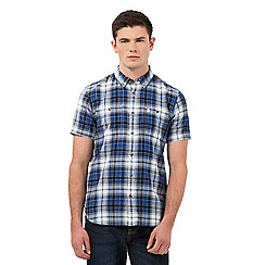 St George by Duffer - Blue textured checked shirt