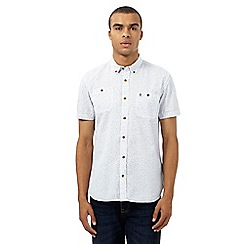 St George by Duffer - Big and tall white printed short sleeved shirt