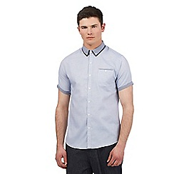 Red Herring - Blue pin dot trim short sleeve shirt