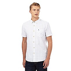 St George by Duffer - Big and tall white window pane checked print shirt