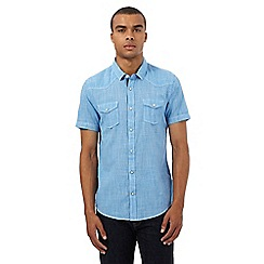 Red Herring - Blue dogtooth regular fit shirt