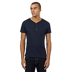 Red Herring - Navy button neck t-shirt