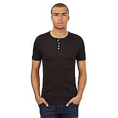 Red Herring - Black ribbed granddad t-shirt