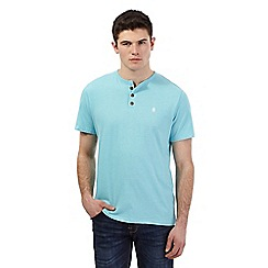 St George by Duffer - Big and tall blue grandad logo embroidered t-shirt