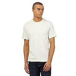 St George by Duffer - Big and tall dark cream neppy textured t-shirt