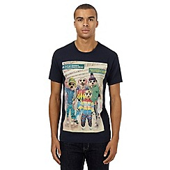 Red Herring - Navy meerkat skiing holiday print t-shirt