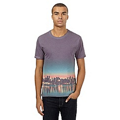 Red Herring - Purple night skyline print t-shirt