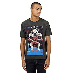 St George by Duffer - Big and tall dark grey boxing bulldog print t-shirt