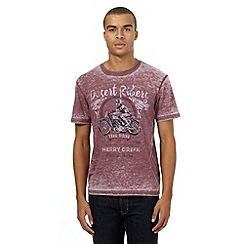 St George by Duffer - Big and tall dark red motorbike print t-shirt