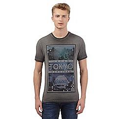 Red Herring - Dark grey 'Tokyo' print t-shirt