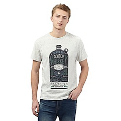 St George by Duffer - Big and tall dark cream whisky print t-shirt