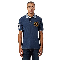 St George by Duffer - Navy space dye polo shirt