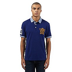 St George by Duffer - Big and tall blue birdseye collar polo shirt