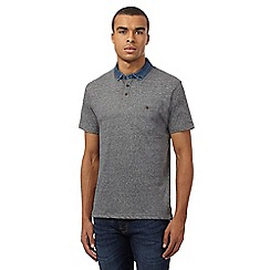 Red Herring - Grey textured denim collar polo shirt
