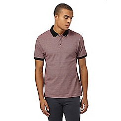 Red Herring - Dark red jacquard striped polo shirt