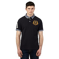 St George by Duffer - Big and tall navy gingham checked polo shirt