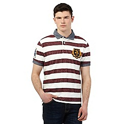St George by Duffer - Big and tall dark red striped print polo shirt