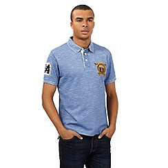 St George by Duffer - Blue textured chest logo polo shirt