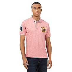 St George by Duffer - Big and tall pink textured chest logo polo shirt