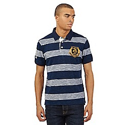 St George by Duffer - Big and tall navy textured black stripe print logo polo shirt