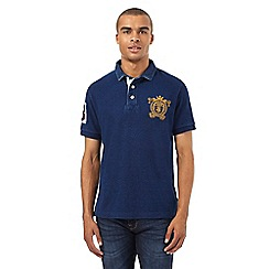 St George by Duffer - Big and tall blue logo applique polo shirt