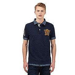 St George by Duffer - Big and tall navy mock layer polo shirt