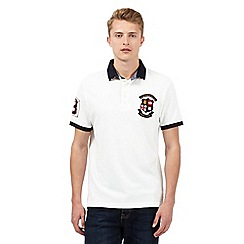 St George by Duffer - Big and tall white union jack collar polo shirt