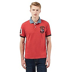 St George by Duffer - Big and tall white england applique collar polo shirt