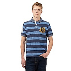 St George by Duffer - Big and tall blue striped polo shirt