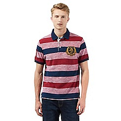 St George by Duffer - Big and tall red striped print polo shirt