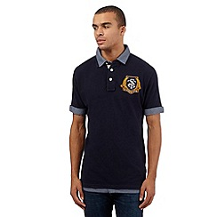 St George by Duffer - Navy mock collar shirt