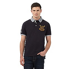 St George by Duffer - Big and tall navy birdseye textured polo shirt
