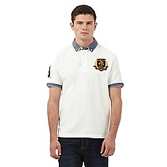 St George by Duffer - Big and tall white gingham trim polo shirt