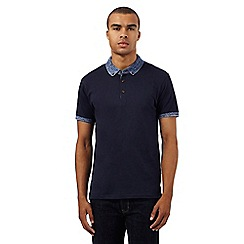 Red Herring - Navy space dye collar polo shirt