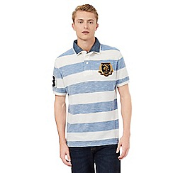 St George by Duffer - Blue and white mock collar polo shirt