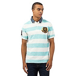 St George by Duffer - Big and tall aqua and white striped print polo shirt