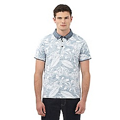 Red Herring - Blue reverse leaf print polo shirt