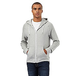 Red Herring - Grey ribbed zip through hoodie