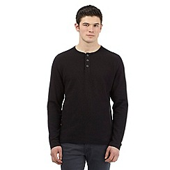Red Herring - Black ribbed granddad top