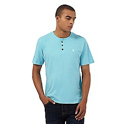 St George by Duffer - Turquoise granddad neck t-shirt
