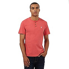 St George by Duffer - Big and tall coral granddad neck t-shirt