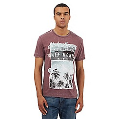 Red Herring - Dark red 'Santa Monica' print t-shirt