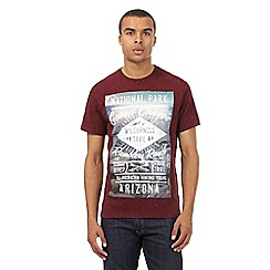 St George by Duffer - Big and tall dark red flecked 'Grand Canyon' printed t-shirt