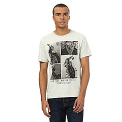 St George by Duffer - Grey marl vintage motorcycle print t-shirt