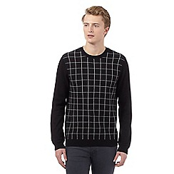Red Herring - Black grid crew neck jumper